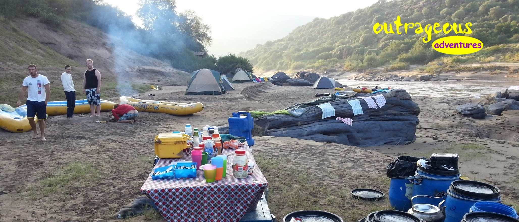 camping next to the Orange River on a multi-day rafting adventure.